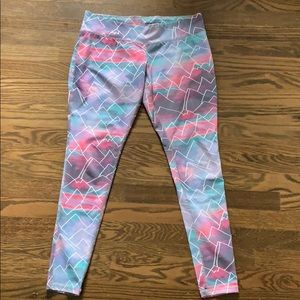 Colorful mountain workout pants
